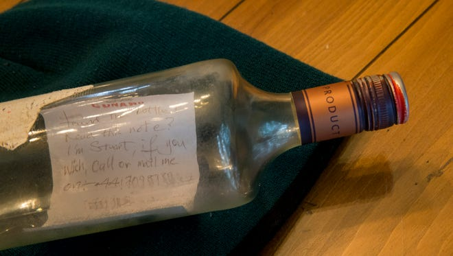 Bottle with message in it that Vince Stango of North Beach found on the beach after last week's nor'easter that contained a message of someone from England.