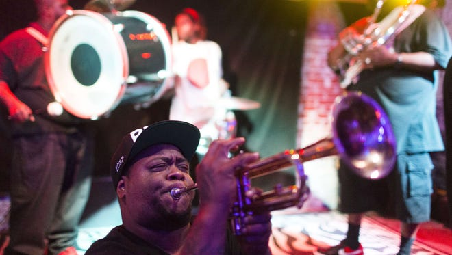 The Hot 8 Brass Band performs in New Orleans on Aug. 16, 2015.