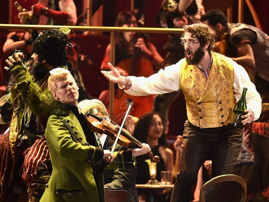 Lucas Steele, left, and Josh Groban perform with the