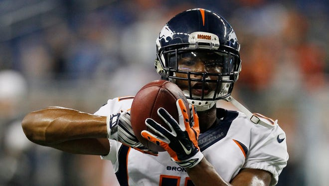 Denver Broncos wide receiver Jordan Norwood runs through a drill before a game against the Detroit Lions on Sept. 27, 2015, in Detroit.