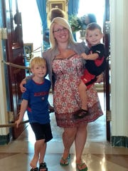 Sara Johnson and her two sons visit the White House