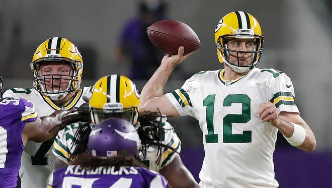 Aaron Rodgers did not have his best game in the first game against the Vikings this season, fumbling three times and completing 20 of 36 passes for 213 yards and a touchdown and an interception.