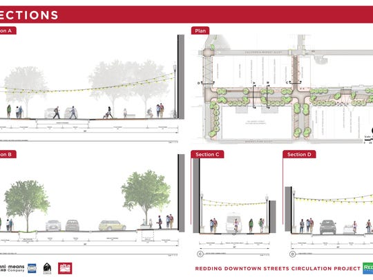 This rendering shows concepts for Market, Yuba and Butte streets in downtown Redding.