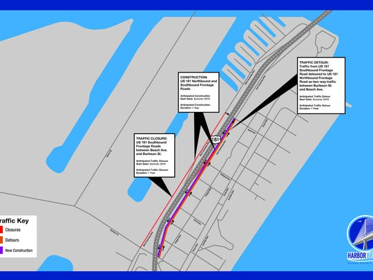 Traffic on North Beach will be affected by the latest work on the Harbor Bridge Replacement Project, now in its second year.