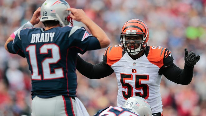 Cincinnati Bengals outside linebacker Vontaze Burfict (55) changes the play at the line of scrimmage in the second quarter during the Week 6 NFL football game between the Cincinnati Bengals and New England Patriots, Sunday, Oct. 16, 2016, at Gillette Stadium in Foxborough, Mass.