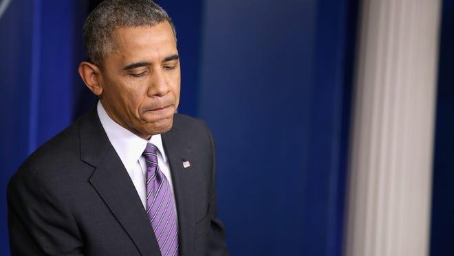 Barack Obama delivers remarks about Obamacare in April.