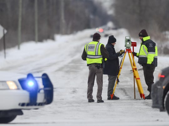 Deputies from the St. Clair County Sheriff Department investigate a scene where bags of human body parts were discovered on Allington Road near Fred Moore Highway in St. Clair Township. JEFFREY SMITH/TIMES HERALD Officers from the St. Clair County Sheriff's Department investigate a scene where bags of human remains were discovered Jan. 30, 2014 at the intersection Allington and Fred Moore Highway in St. Clair Township.