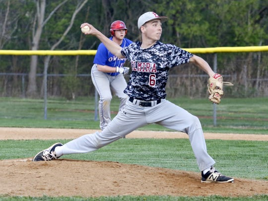 Andrew Johnson of Elmira pitched three innings of scoreless relief to earn the win Tuesday in an 8-7 victory over Owego at Elmira High School.