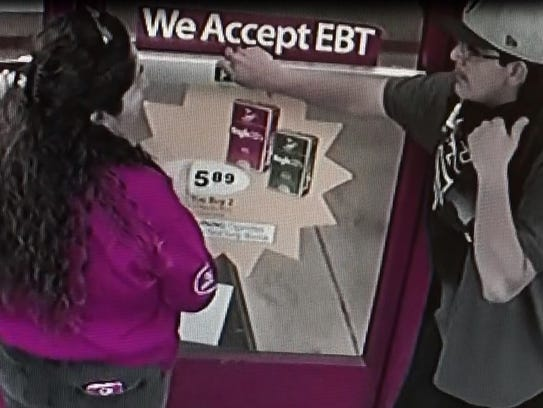 Security footage of an alleged armed robber in an Indio