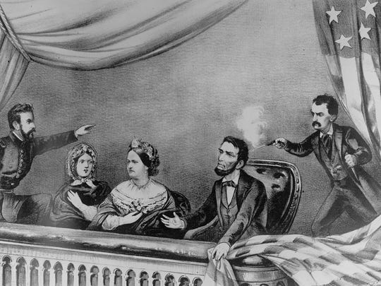 An illustration depicts actor John Wilkes Booth shooting President Abraham Lincoln at Ford's Theatre in Washington, D.C., on April 14, 1865. Also in the presidential box are, from left, Maj. Henry Rathbone, Clara Harris, and first lady Mary Todd Lincoln. The assassination came just days after the Confederate surrender ended the Civil War.