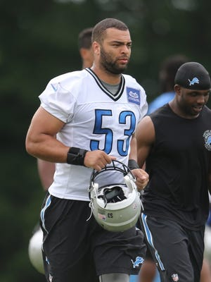 The Detroit Lions Kyle Van Noy heads to the locker rooms after practice on Wednesday, June 17, 2015 at the Lions Allen Park practice facility.