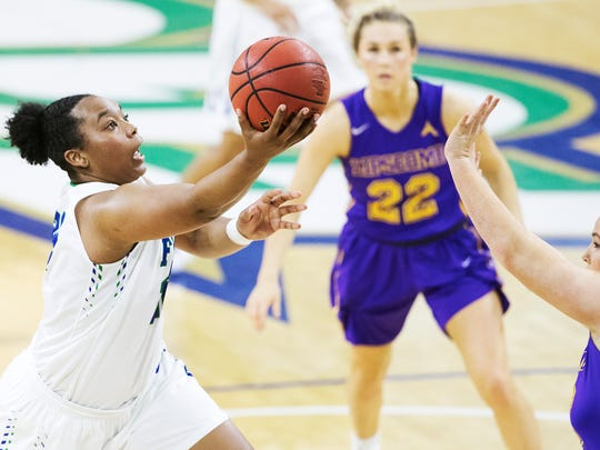 FGCU's China Dow had a monster semifinal home rout of Lipscomb on Wednesday night when she scored a game-high 30 points in just 18 minutes.
