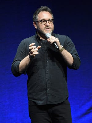 Director Colin Trevorrow speaks onstage at Universal Pictures Invites You to an Exclusive Product Presentation Highlighting its Summer of 2015 and Beyondat The Colosseum at Caesars Palace during CinemaCon, the official convention of the National Association of Theatre Owners, on April 23 in Las Vegas, Nevada.
