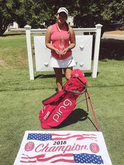Aucilla Christian's Megan Schofill celebrates a win at the Rome Junior Classic, an AJGA tournament.