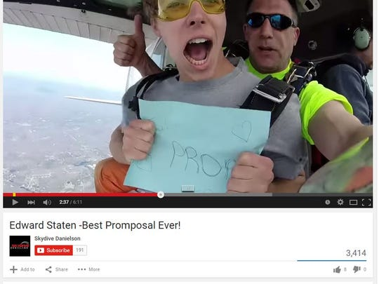 A teen takes the plunge to ask his girlfriend to the prom