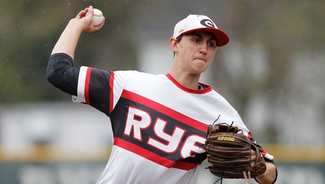 Rye pitcher George Kirby works the mound during a baseball game against Harrison at Disbrow Park in Rye on Wednesday, May 04, 2016.  Rye won 3-0.