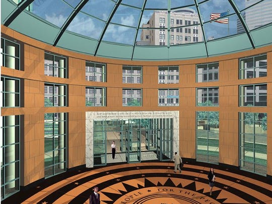 A rendering showing an inside section of the proposed new Nashville federal courthouse.