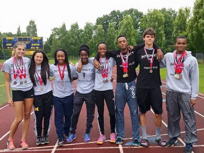 Among club members qualifying for the AAU Junior Olympics are, from left, Shiann Proffitt, Caroline Mahalak, Erica Robinson, Reanna Brown-Deacon, Anavia Battle, Montel Hood, Andrew Chant and Malik Jordan.