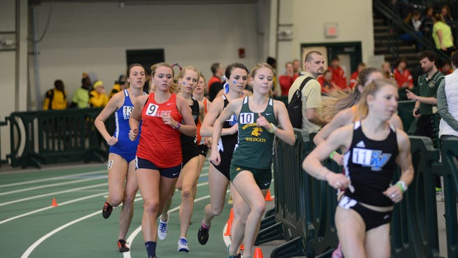 River Valley grad Hannah Campbell (9) competes for Malone University at the GLIAC Indoor Track & Field Championships earlier this season.