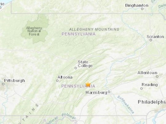 The U.S. Geological Survey says the epicenter of Wednesday night's magnitude 3.4 quake was about 11 miles southwest of Mifflintown.