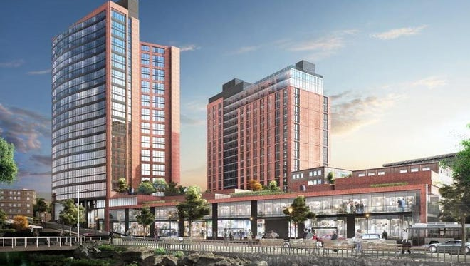 Rendering of the new RXR Realty and Rising Development, $190 million mixed use development, called Larkin Plaza in Yonkers, Dec. 14, 2016.