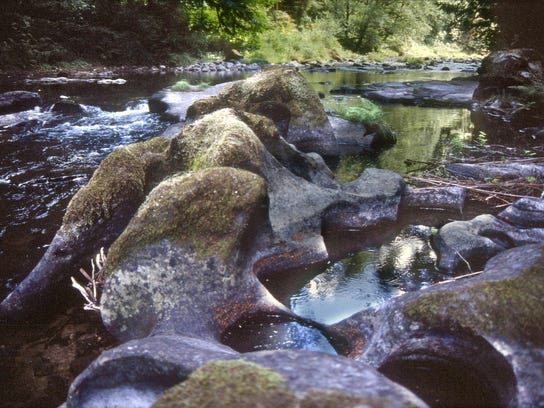 Drift Creek Wilderness potholes carved by swirling rocks in floods at Harris