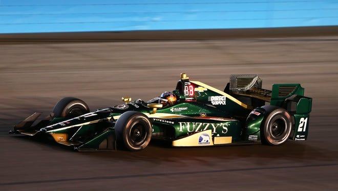 IndyCar Series driver JR Hildebrand during qualifying for the Desert Diamond West Valley Phoenix Grand Prix at Phoenix International Raceway.