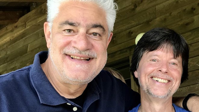 Providence ad-man turned filmmaker Dante Bellini, left, with the subject of his new documentary, Ken Burns.