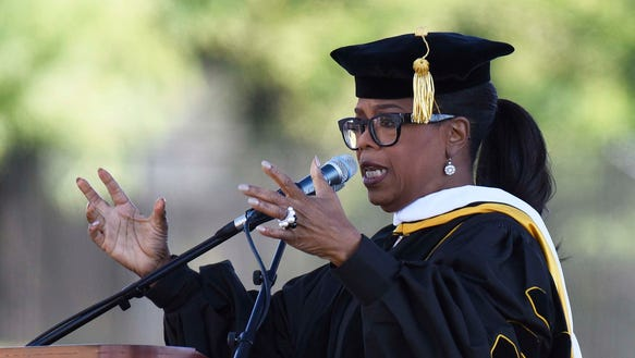 Oprah Winfrey delivers the commencement address during