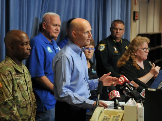 Governor Rick Scott visited the Brevard County Emergency Operations Center in Rockledge Wednesday afternoon for a conference with local emergency personnel, and a statement to the news media.