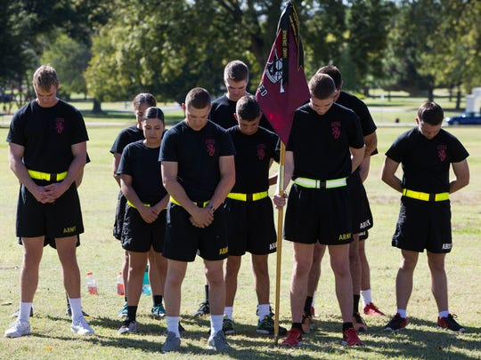 The New Mexico State University Army ROTC team that will compete in the 25th annual Brigade Ranger Challenge Competition joins the rest of the 10 universities in prayer during the opening ceremony for the competition, Friday October 20, 2017 at the Horseshoe at NMSU.