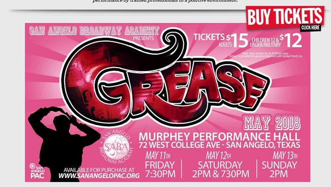 "Information about its production of ""Grease the Musical"" is posted at the San Angelo Broadway Academy's website, sabroadwayacademy.org."
