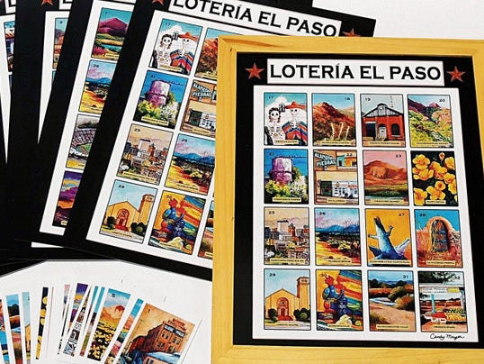 """Artist Candy Mayer's """"Loteria El Paso"""" game based on her painting of the same name. The game will be available at her home studio during the second weekend of the tour."""