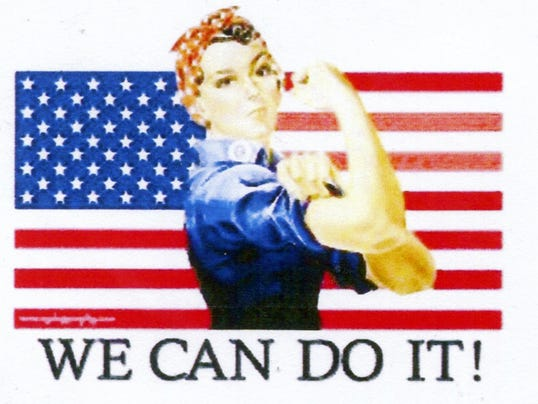 The iconic Rosie the Riveter represents American women who worked in factories, shipyards and other industrial facilities during World War II.