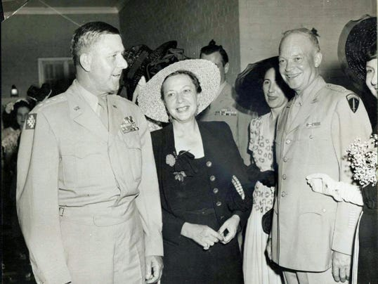 Four-star Gen. Jacob Devers, left, stands with his wife, Georgie, and Gen. Dwight D. Eisenhower. Devers, a York native, was one of three commanders directly under Eisenhower during World War II.