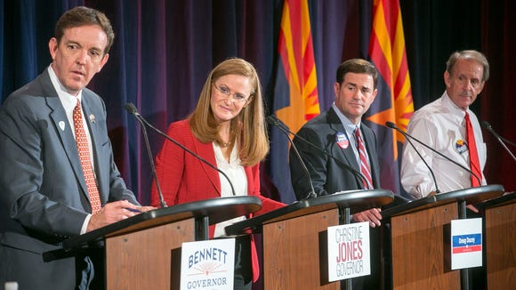 Gubernatorial hopefuls Ken Bennett (from left), Christine Jones, Doug Ducey and Frank Riggs participate in a June forum.