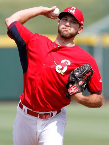 St. Louis Cardinals pitcher Michael Wacha throws a session during a rehab assignment at Hammons Field on Wednesday, August 27, 2014.