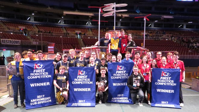 The HOT Team competed  at the FIRST Robotics World Championship in St Louis April 26-29; bringing home the Archimedes Division Champion Trophy
