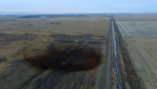 A spill from TransCanada Corp's Keystone pipeline, shown Nov. 17, 2017, leaked an estimated 210,000 gallons of oil onto a field in northeast South Dakota but did not reach any water.