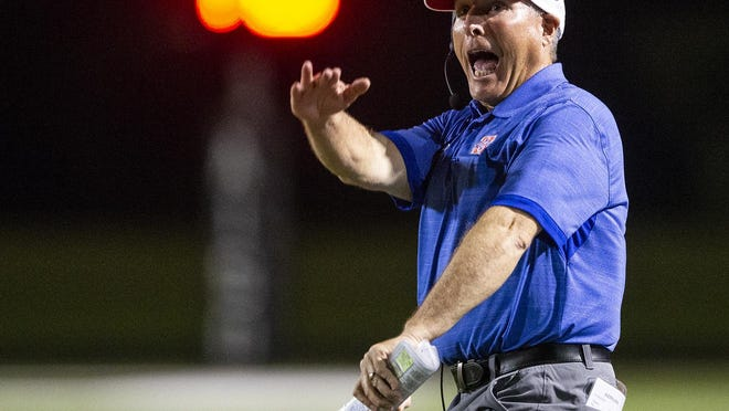 Hays head coach Les Goad led the Rebels to a 28-7 win over Akins Friday.