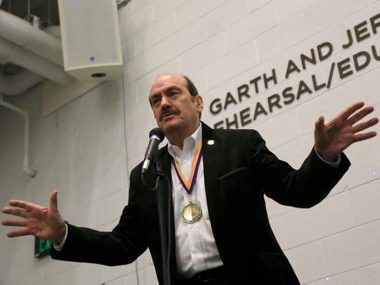 R. Scott Phillips, former executive director of the Utah Shakespeare Festival, speaks during a retirement celebration for him on Feb. 27 at the festival offices in Cedar City.