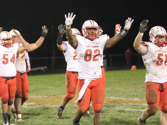 Port Clinton's Russell DeMarco (No. 82) spent most