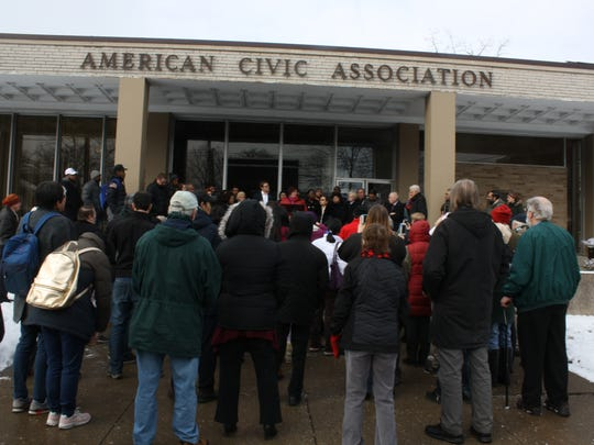 About 100 people gathered at the American Civic Association for the announcement of the Welcoming Cities/Counties Resolution.