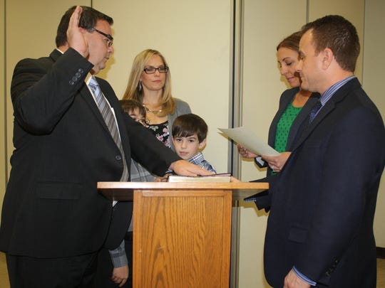 Lodi school board member Alfonso Mastrofilipo being sworn in to his one-year board-appointed term in December.