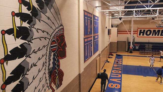 An image of an American Indian was painted on the wall of Saugatuck High/Middle School's gymnasium in the mid-1970s by John Fox, a Saugatuck graduate who is part Potawatomi and Odawa.