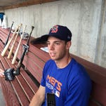 New York Mets pitcher Steven Matz speaks with reporters in the home dugout at NYSEG Stadium prior to the Binghamton Mets game on Monday, Aug. 25, 2015.