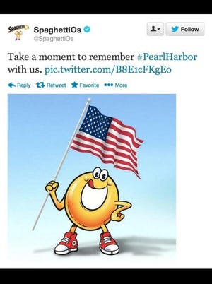 SpaghettiOs tweet for Pearl Harbor that Campbell Soup took down after Twitter followers complained.