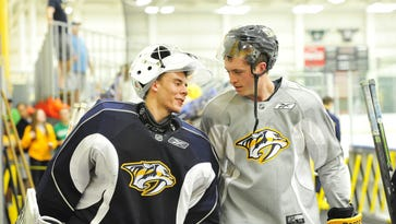 Predators forward prospect Jimmy Vesey, right, seems unlikely to sign with the team that drafted him in the third round in 2012.