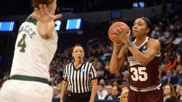Mississippi State's Victoria Vivians (35) takes a shot against Baylor in the Elite Eight.
