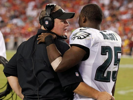 Chip Kelly, left, and LeSean McCoy are shown here during